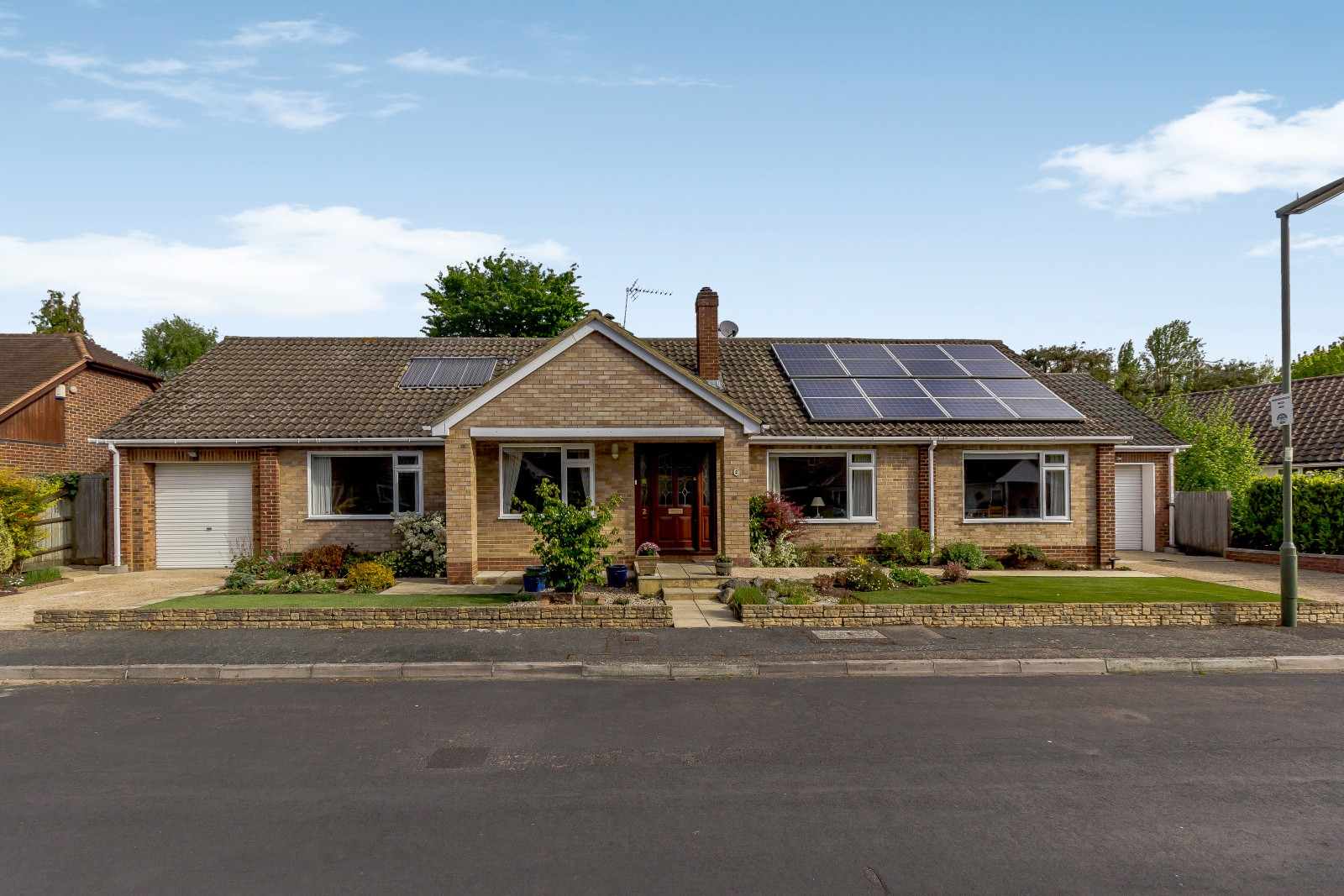 Bungalow in the UK with solar panels