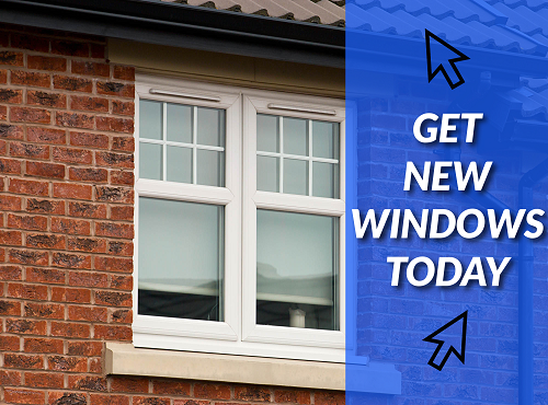 A new set of UPVC window windows being installed in Longton